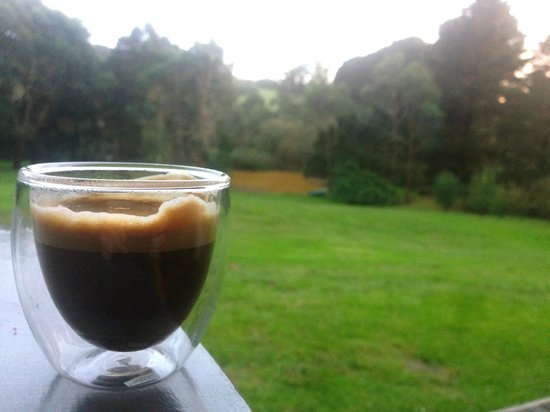 The Orchard Luxury B&B: Morning coffee from our deck