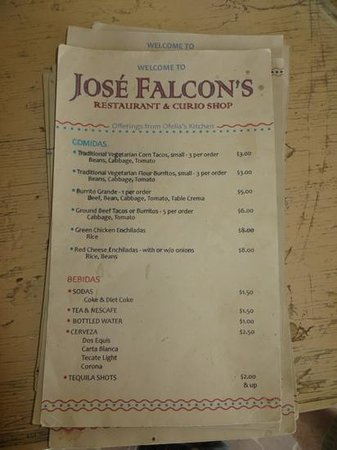 Big Bend National Park: Menu at Jose Falcon's