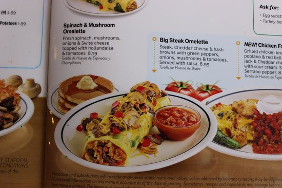 Ihop: Menu do Big steak omelette