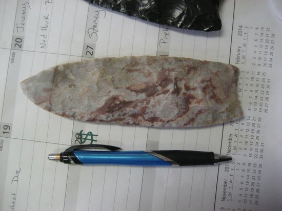 "Portales, NM: ~ 6 "" spear point of tecovas jasper found at dig.  This material came from  the Palo Duro Canyon"