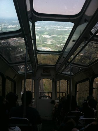 The Lookout Mountain Incline Railway: pretty much vertical riding looking through the roof