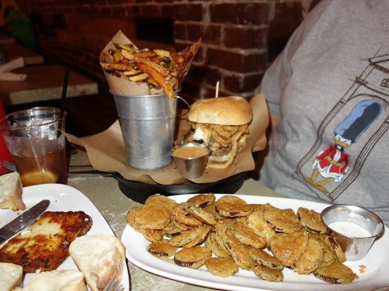 Stock and Barrel: Fried pickles, bison burger, and a bucket o' fries