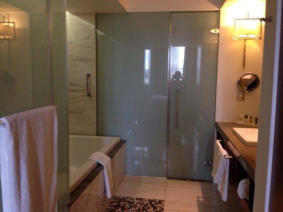 Hilton Windhoek: Luxury open plan bathroom ! Could do with a nightlight!