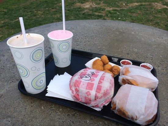 Polly's Freeze: Hot fudge shake, strawberry shake, porkette, fried mushrooms, and two BBQs.