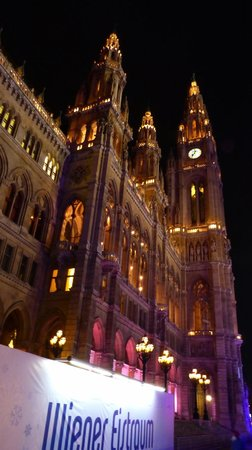 Rathausplatz: Rathaus at night