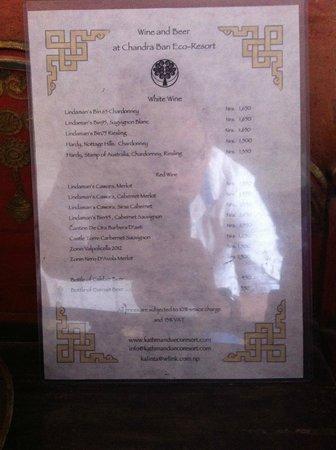 Chandra Ban Retreat: Restaurant Menu