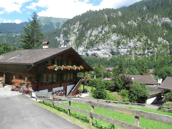 Airtime : A view of Lauterbrunnen, down the road from the Restaurant.