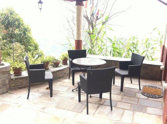Chandra Ban Eco-Resort: Outdoor seating_ upper building