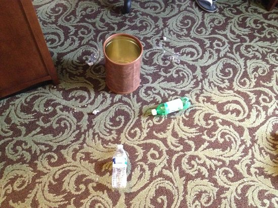 Hampton Inn & Suites New Hartford: After maintenance cleaned the trash they left a bigger mess!