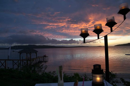 The Havannah, Vanuatu: sunset view and the pier dining table