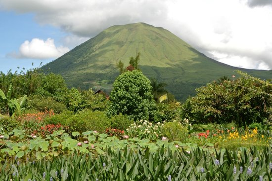 The mountain Lokon viewed from the restaurant of Gardenia Country Inn