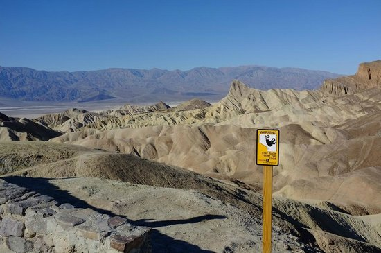 Zabriskie Point: A warning sign on the plateau