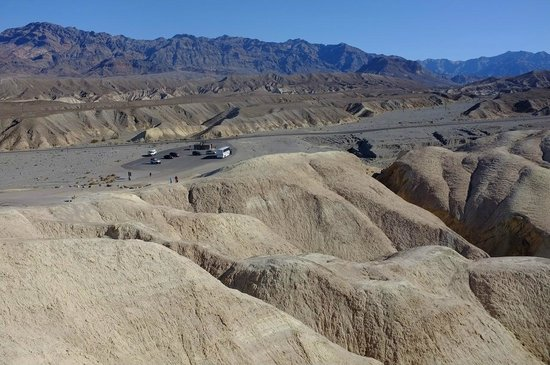 Zabriskie Point: Looking back at the parking lot