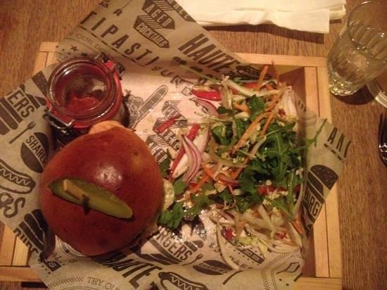 Sygn: hamburger with cute pot of salsa,,salad and fries