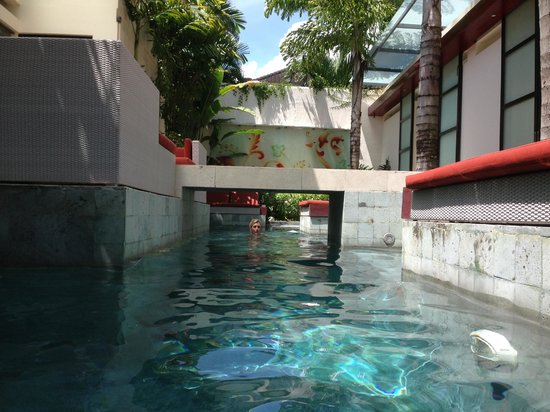 Bali Ginger Suites & Villa : View down the centre of the private premises. Day beds for all!