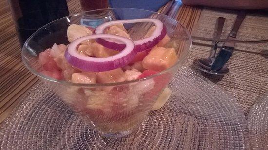 Oyamel : ceviche de salmon y vieira 13.5 €