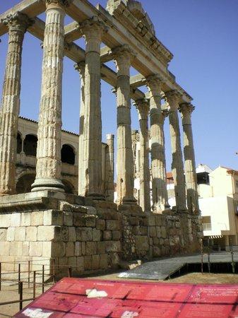 Templo de Diana: The shadows and light against the blue Extremaduran sky