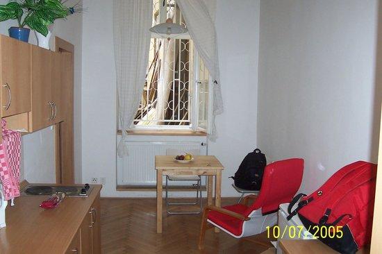 Residence Pinkas Old Town : Asma katlı odanın alt katında arka avluya bakan pencere