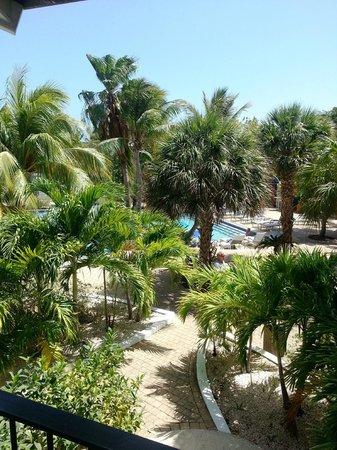 Floris Suite Hotel - Spa & Beach Club: Utsikt fra balkong mot basseng.