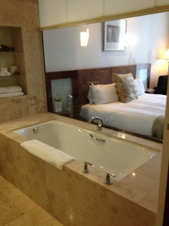 Peppers Waymouth Hotel : Glass wall dividing bath & bedroom
