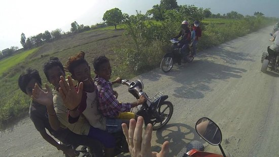 Nature-Cambodia: 4 Kids, 1 Motorbike, No Helmets, Huge Smiles! (Only in SE Asia)