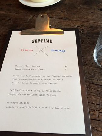 Septime: Lunch menu on the day
