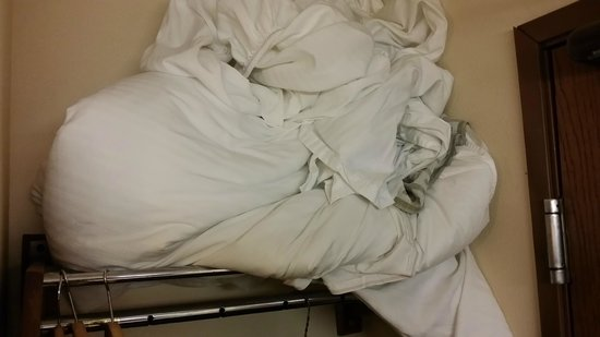 Americas Best Value Inn- Galesburg: Dirty linen that was on the bed when I checked in.