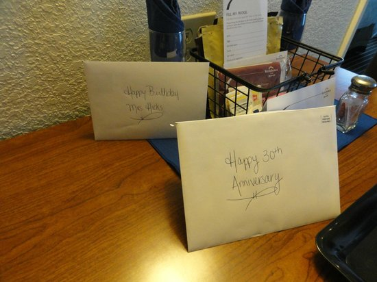 Residence Inn Long Island Holtsville: A birthday AND an anniversary card both signed with thoughtful comments from the staff members!