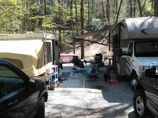 Unicoi State Park & Lodge : Double Buddy site with our campers. Long site with table and fire ring at far end.