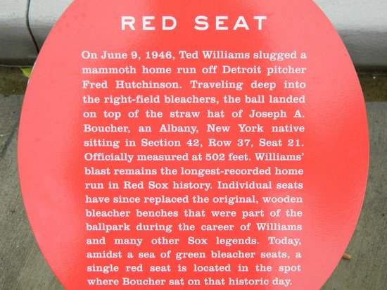 JetBlue Park: The red seat marking where Ted Williams hit the longest run in Fenway