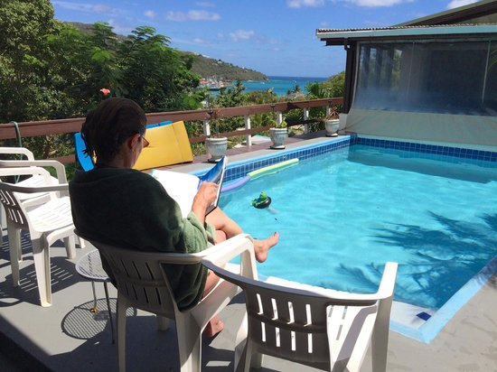 Hummingbird House: View of the Caribbean from the pool area.