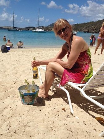 Secret Harbour Beach Resort : On Secret Harbor Beach with a bucket of Coronas