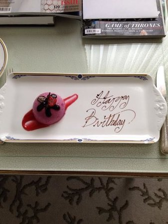 The Merrion Hotel: complimentary birthday greeting