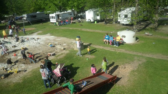 Bucktail Camping Resort: View from the castle.  You can see the peddle train and the edge of the sand pile.