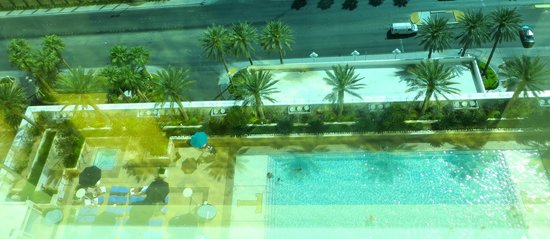 Through the room window overlooking pool on the 7th floor for 101 convention center drive 7th floor las vegas nevada 89109
