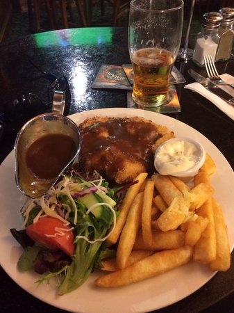 Chicken Schnitzel Chips Salad Brown Gravy Aioli Sauce Beer The Sherlock Holmes Pub Melbou Picture Of The Sherlock Holmes Melbourne Tripadvisor
