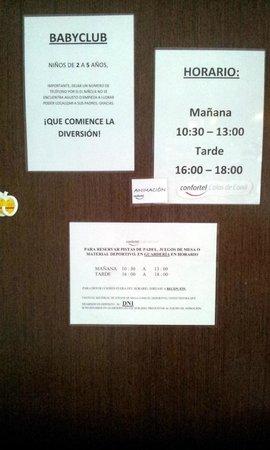 ILUNION Calas de Conil: Horarios miniclub y babyclub.