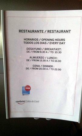 ILUNION Calas de Conil: Horario del restaurante.