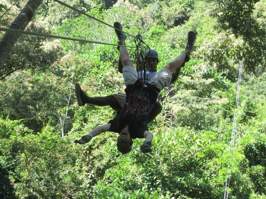 tricks with guides at south shore zipline