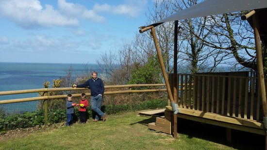 Sandaway Beach Holiday Park: Outside the tent