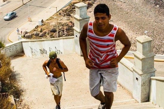 El Mirador: Random kids running up stairs to restaurant