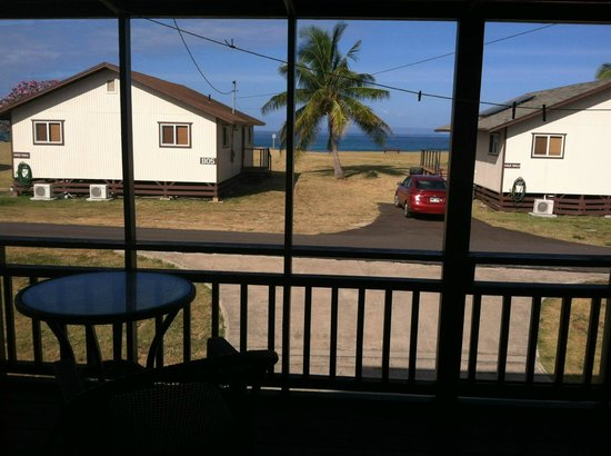 Barking Sands Beach Cottages : view from our lanai where we could watch whales playing