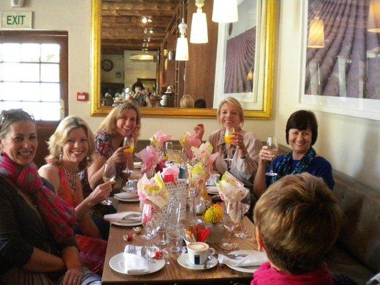 The Alphen Boutique Hotel : Happy group enjoying brunch at La Belle Cafe