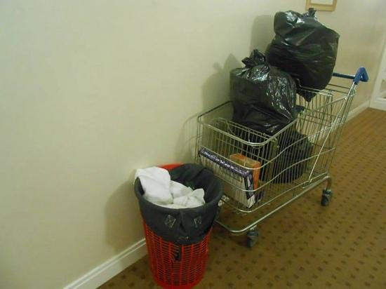 Travelodge Dublin Airport South Hotel: outside our room every day of our stay. Dirty laundry too.