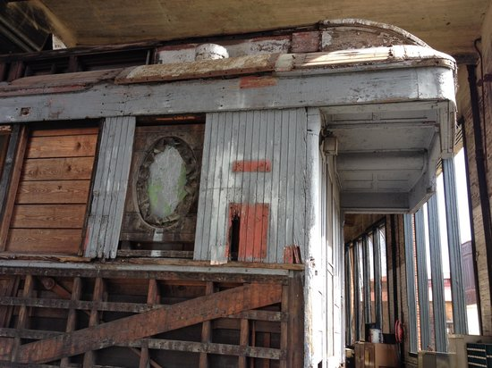 Georgia State Railroad Museum : Historical train car being refurbished