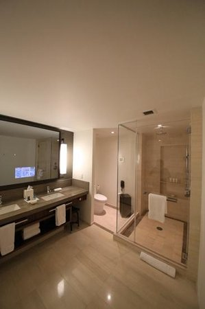 Langham Place, New York, Fifth Avenue : Large shower enclosure and TV built into mirror