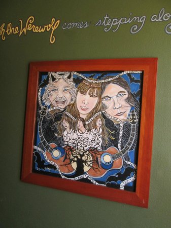 Crystal Hotel: wall art in the werewolf room