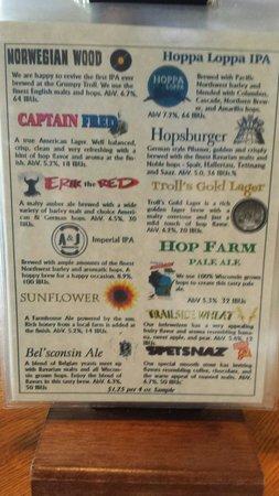 Grumpy Troll Pub & Brewery: Beer selection
