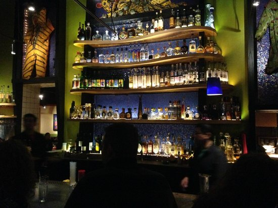 Liquor shelves @ the Frontera Grill bar