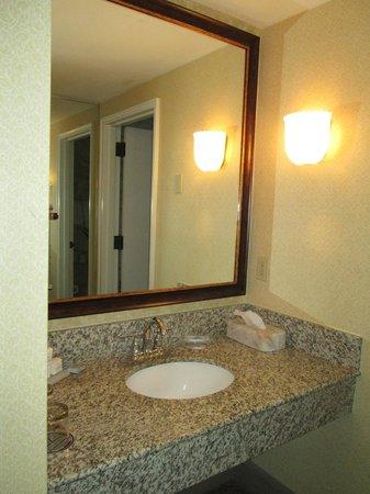 Hotel Revival: Bathroom sink area.